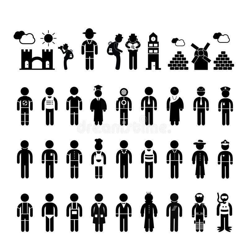 Символ людей в карьере иллюстрация вектора