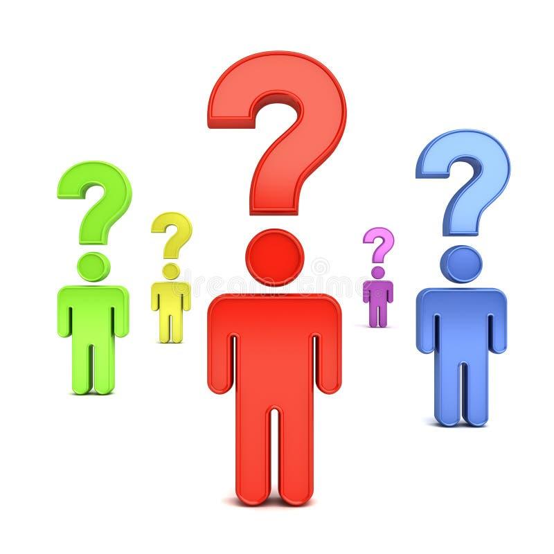 символ людей 3d думая с вопросительными знаками над их головами над белой предпосылкой бесплатная иллюстрация