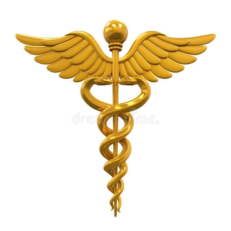 символ caduceus золотистый медицинский иллюстрация вектора