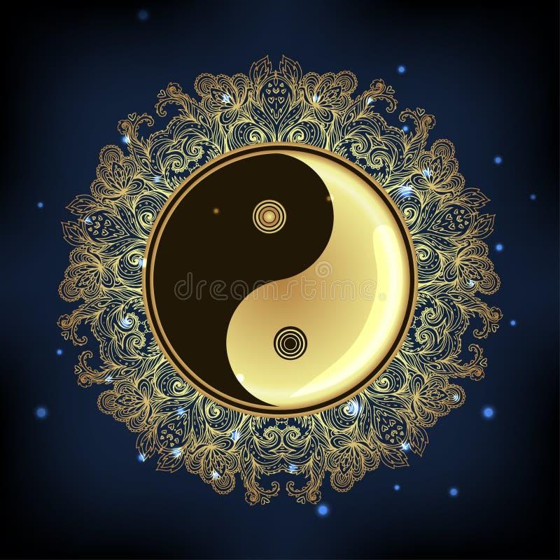 Символ Diwali Om с мандалой сделайте по образцу кругом Винтажный стиль декабрь иллюстрация вектора