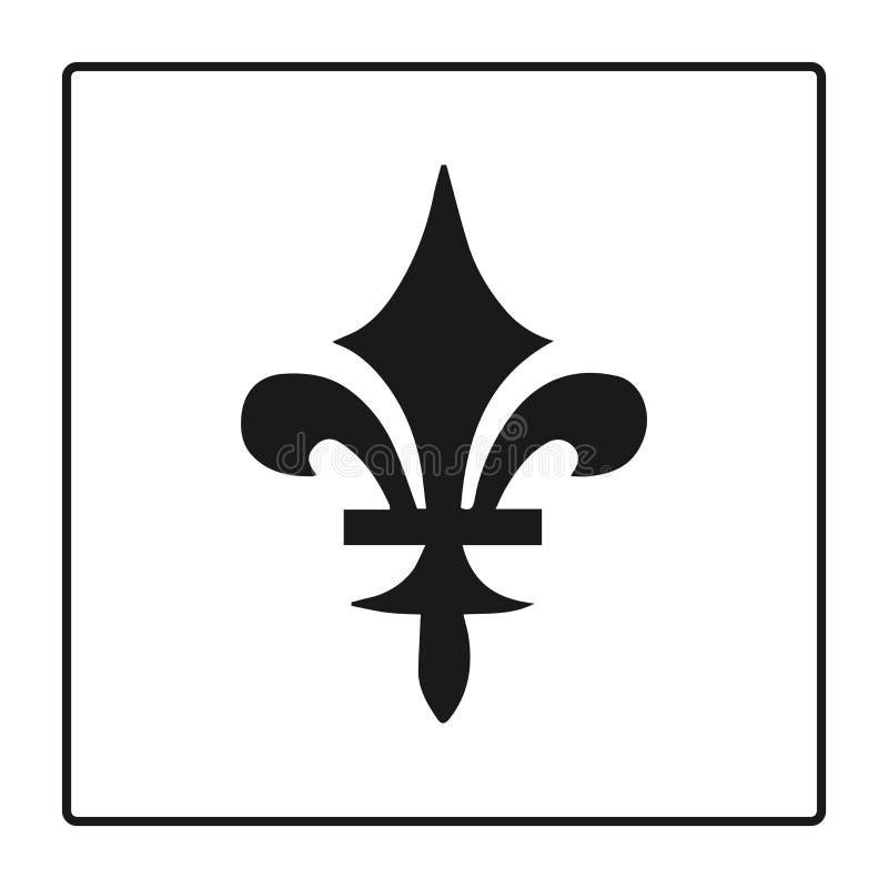 Символ Fleur de lis, силуэт - heraldic символ также вектор иллюстрации притяжки corel Средневековый знак Накаляя лилия fleur de l иллюстрация вектора
