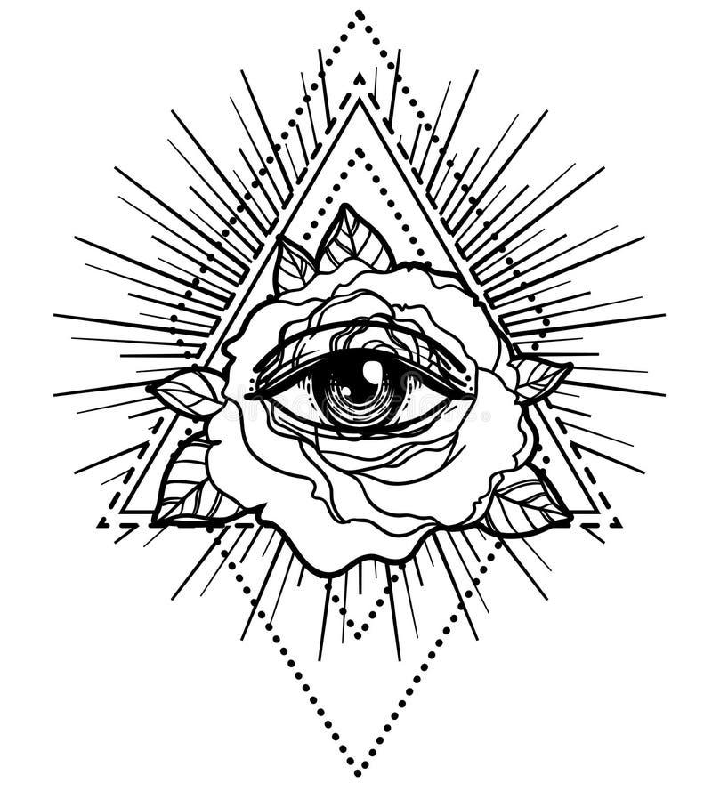 Символ Rosicrucianism Вспышка татуировки Blackwork Полностью видя глаз, c иллюстрация штока