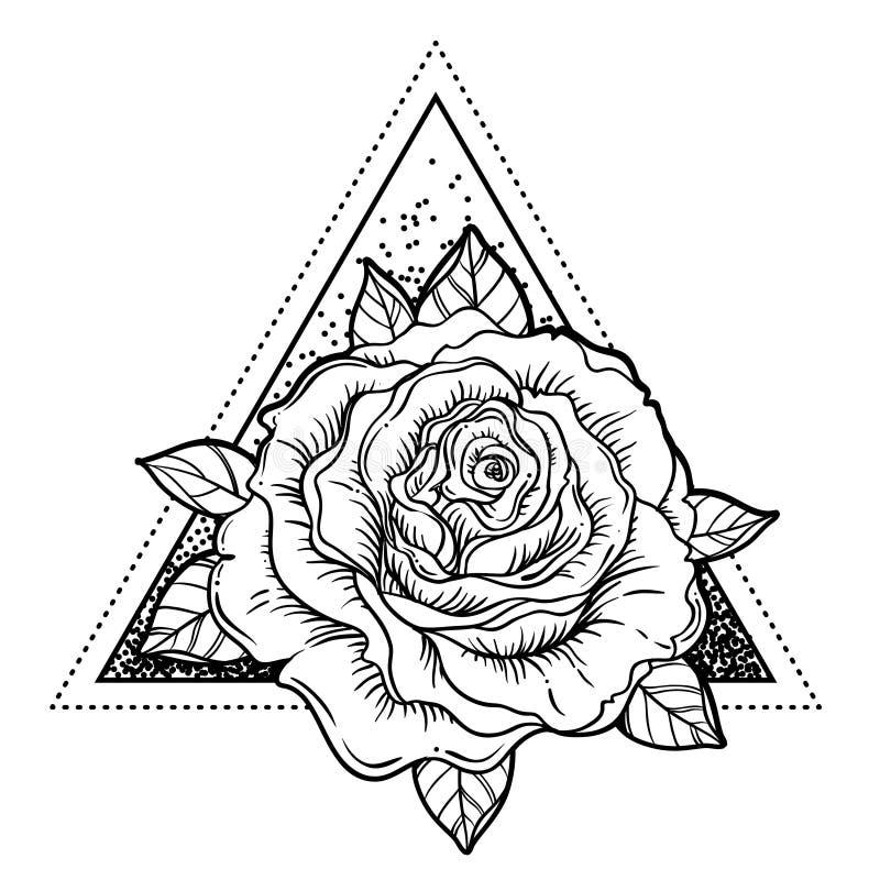 Символ Rosicrucianism Вспышка татуировки Blackwork Полностью видя глаз, c иллюстрация вектора