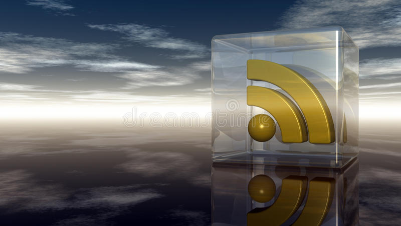 Символ Rss в стеклянном кубе под пасмурным голубым небом иллюстрация вектора