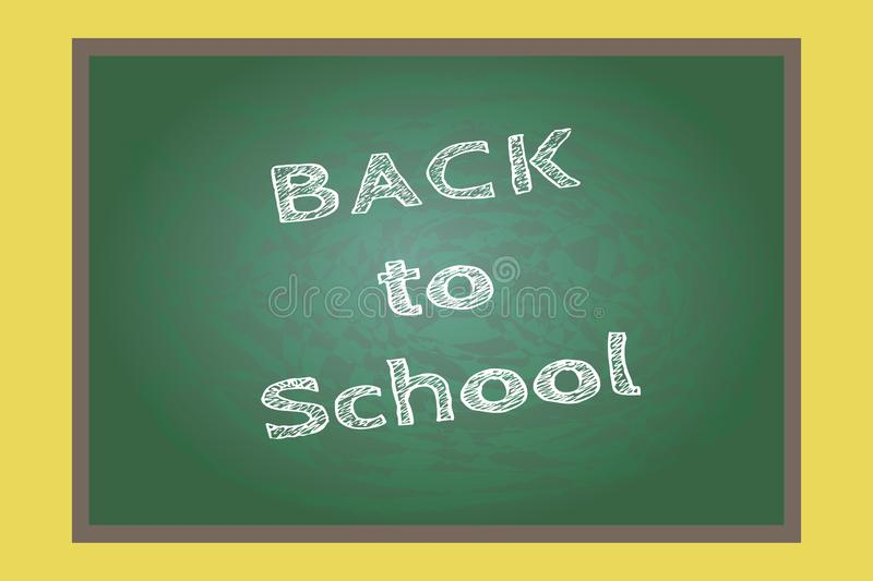 Back to school, written on blackboard with chalk, vector illustration. A  blackboard in the classroom at school with the message in words back to school written vector illustration