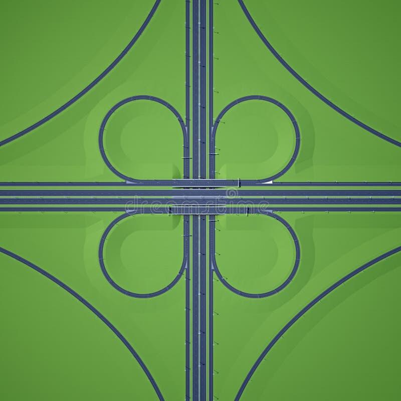 Симметричное взгляд сверху шоссе пересечения бесплатная иллюстрация