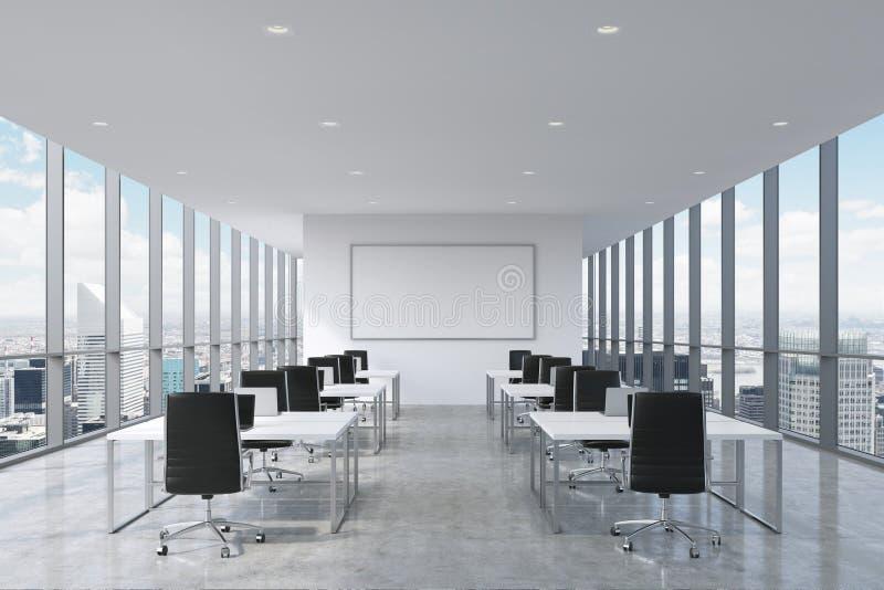 Симметричные корпоративные рабочие места оборудованные современными компьтер-книжками в современном панорамном офисе в Нью-Йорке иллюстрация штока
