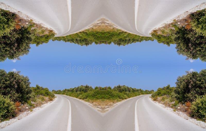 Симметричный путь к счастью, окно к небу стоковая фотография rf