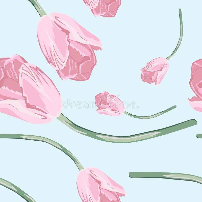 Симпатичная безшовная картина с розовым тюльпаном Хороший для дизайна текстильной ткани, упаковочной бумаги и обоев вебсайта иллюстрация вектора