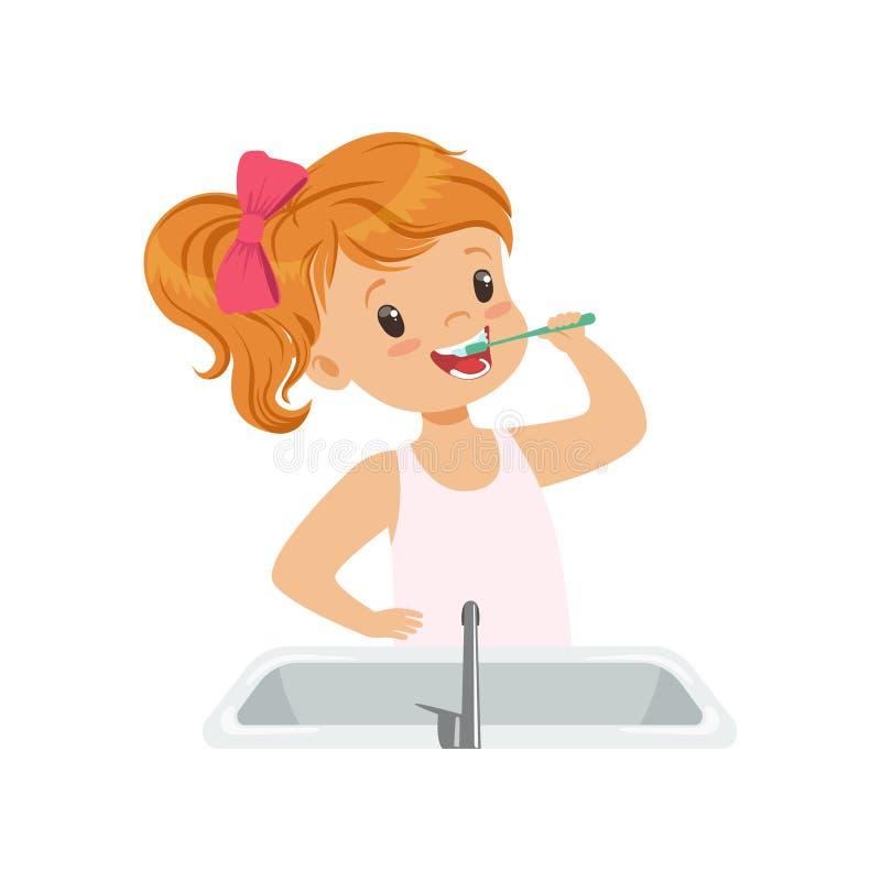 Симпатичная девушка чистя ее зубы щеткой, ребенк заботя для зубов в иллюстрации вектора ванной комнаты на белой предпосылке иллюстрация штока
