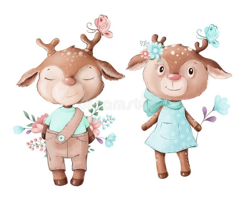 Симпатичная иллюстрация оленьего мальчика и девочки стоковое фото rf