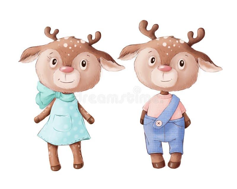 Симпатичная иллюстрация оленьего мальчика и девочки стоковые фотографии rf