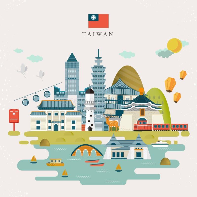 Симпатичная карта перемещения Тайваня бесплатная иллюстрация