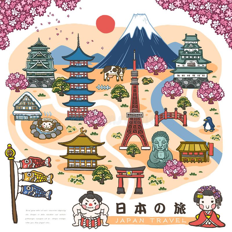 Симпатичная карта Японии идя бесплатная иллюстрация