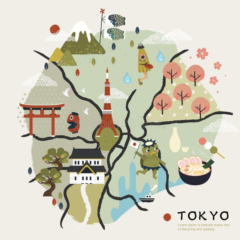 Симпатичная карта Японии идя иллюстрация вектора