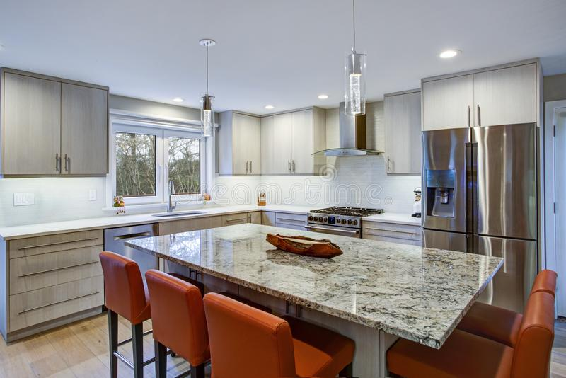 Симпатичная комната кухни с островом кухни стоковое изображение rf