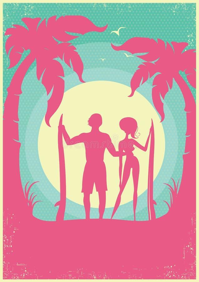 Симпатичная пара серферов и голубого моря развевает на плакате Bac вектора иллюстрация штока