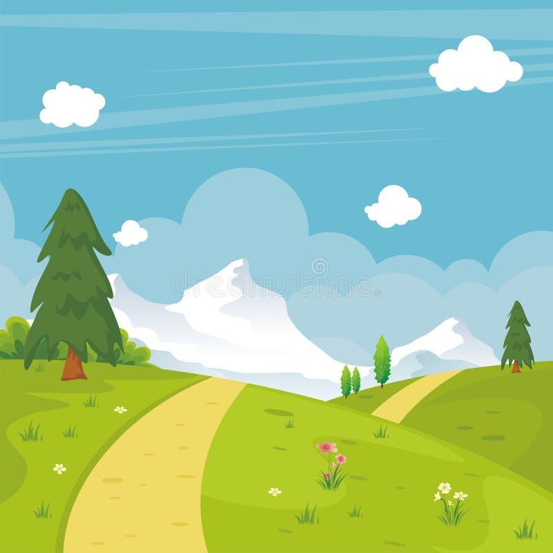 Симпатичная предпосылка ландшафта весны с стилем шаржа иллюстрация вектора