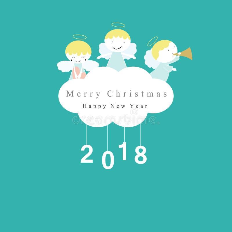 Симпатичная рождественская открытка иллюстрация вектора