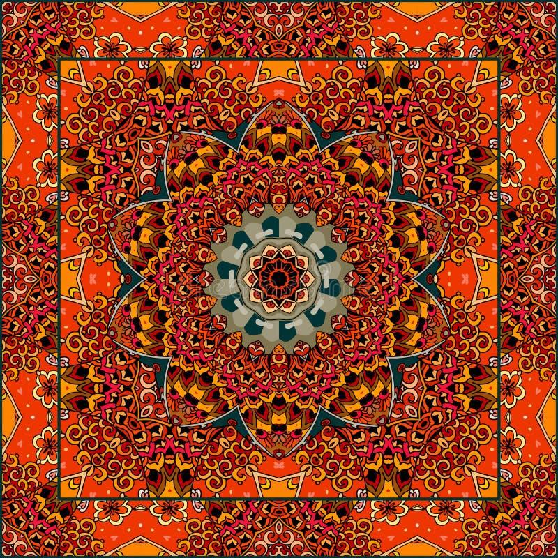 Симпатичная скатерть или красивый шарф с цветком - мандалой в этническом стиле бесплатная иллюстрация
