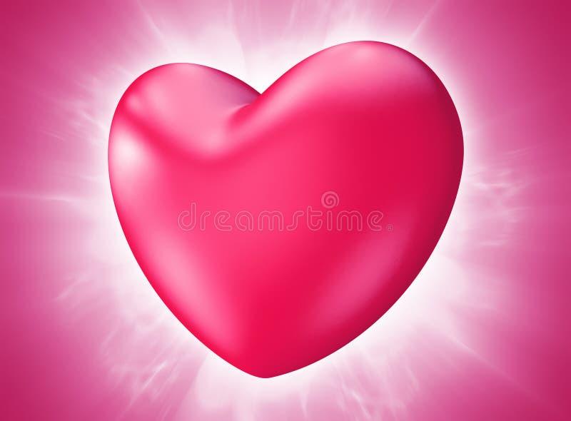 Симпатичное розовое сердце дня валентинки разрывая с страстью иллюстрация штока