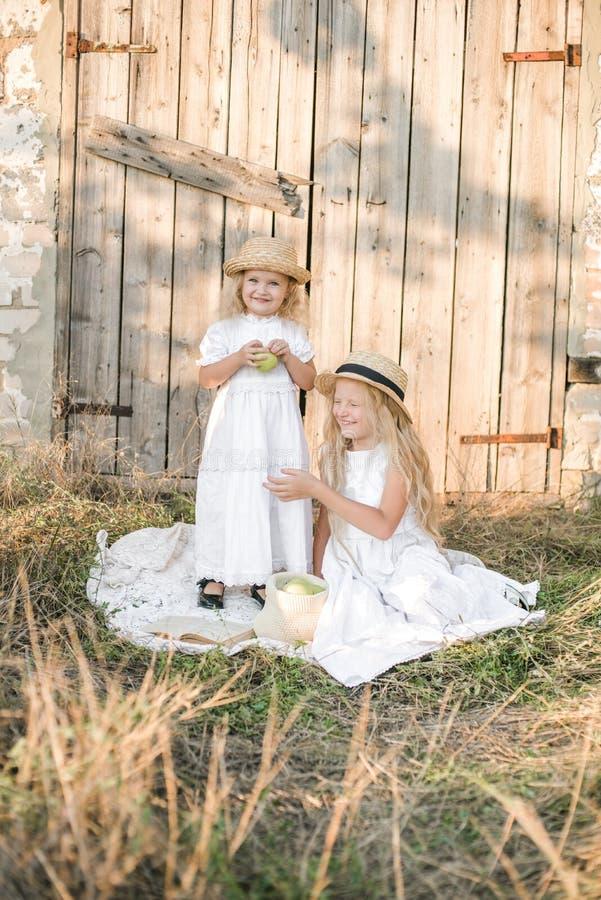 Симпатичные белокурые сестры девушки в платьях и соломенных шляпах белизны смеются над и едятся яблоками в сельской местности стоковые фотографии rf