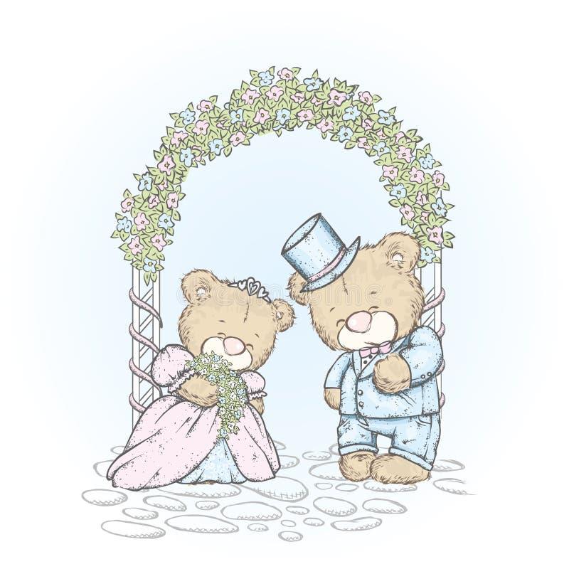 Симпатичные новички в платье свадьбы и платье Свадьба медвежоат Vector иллюстрация для открытки или плаката иллюстрация вектора