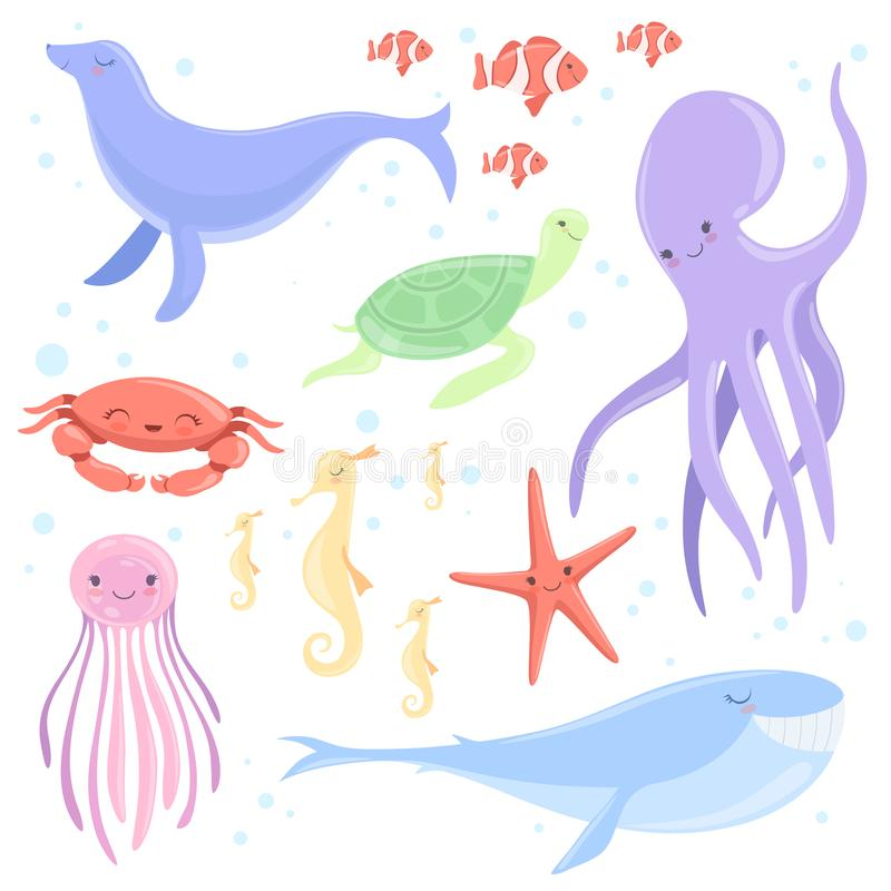 Симпатичные подводные животные установили, рыбы клоуна, медузы, морской конек, морская звёзда, кит, морской котик, черепаха, море иллюстрация штока