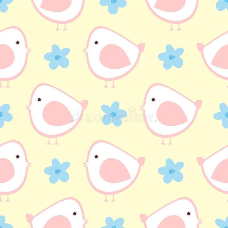 Симпатичные птицы и цветки Милая безшовная картина для детей бесплатная иллюстрация