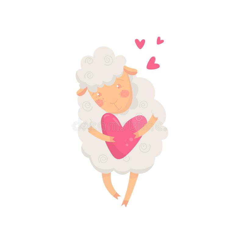 Симпатичные пушистые овцы держа розовое сердце Персонаж из мультфильма humanized домашнего животного Графический дизайн для печат иллюстрация вектора