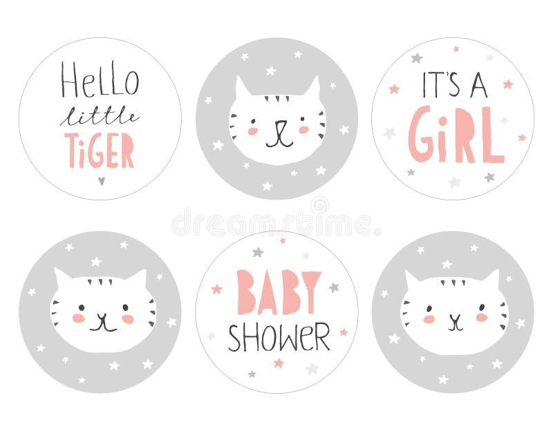 Симпатичный комплект бирки округлой формы детского душа Здравствуйте! маленький тигр иллюстрация вектора