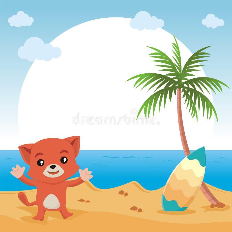 Симпатичный кот показывая что-то с красивым ландшафтом бесплатная иллюстрация