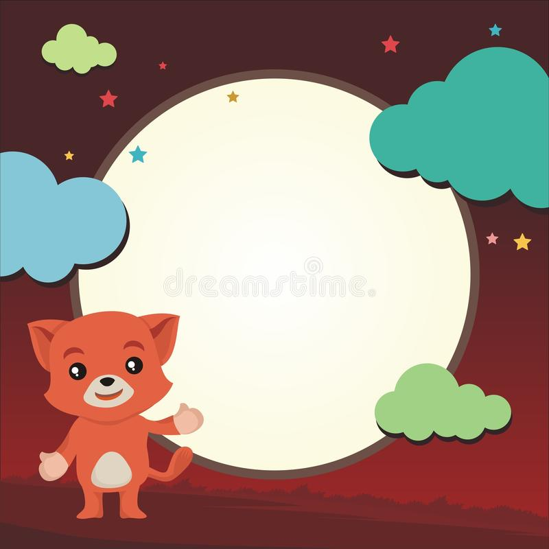 Симпатичный кот показывая что-то с красивым ландшафтом иллюстрация штока