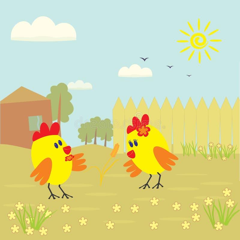 Симпатичный маленький цыпленок 2 смотря уши пшеницы бесплатная иллюстрация