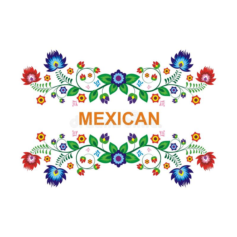 Симпатичный мексиканский этнический флористический дизайн украшения иллюстрация вектора