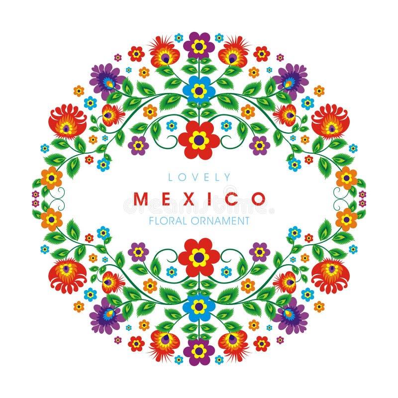 Симпатичный мексиканский этнический флористический дизайн украшения иллюстрация штока
