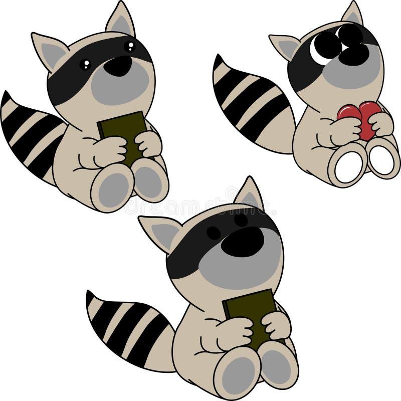 Симпатичный милый маленький комплект шаржа енота младенца бесплатная иллюстрация