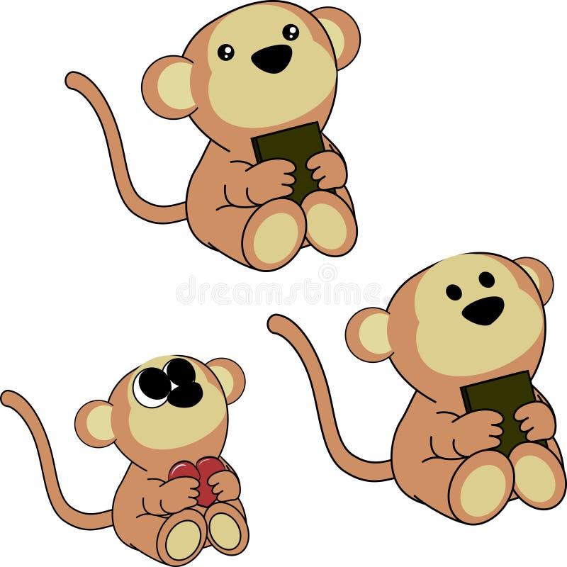 Симпатичный милый маленький комплект шаржа обезьяны младенца иллюстрация штока