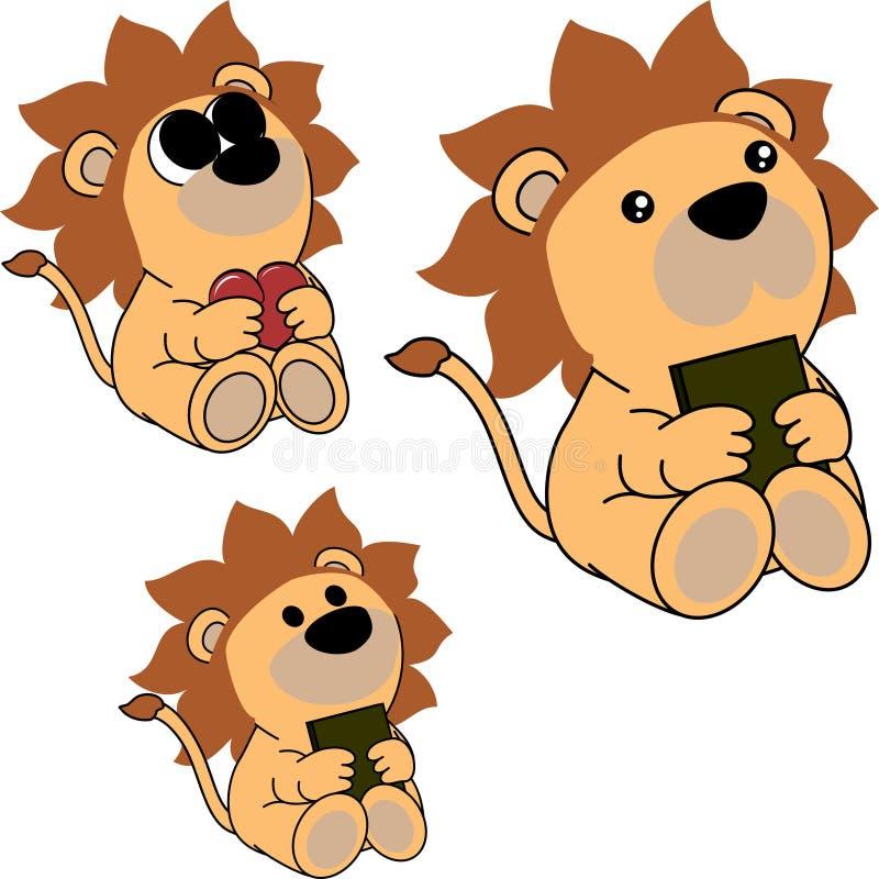 Симпатичный милый маленький комплект шаржа льва младенца иллюстрация вектора