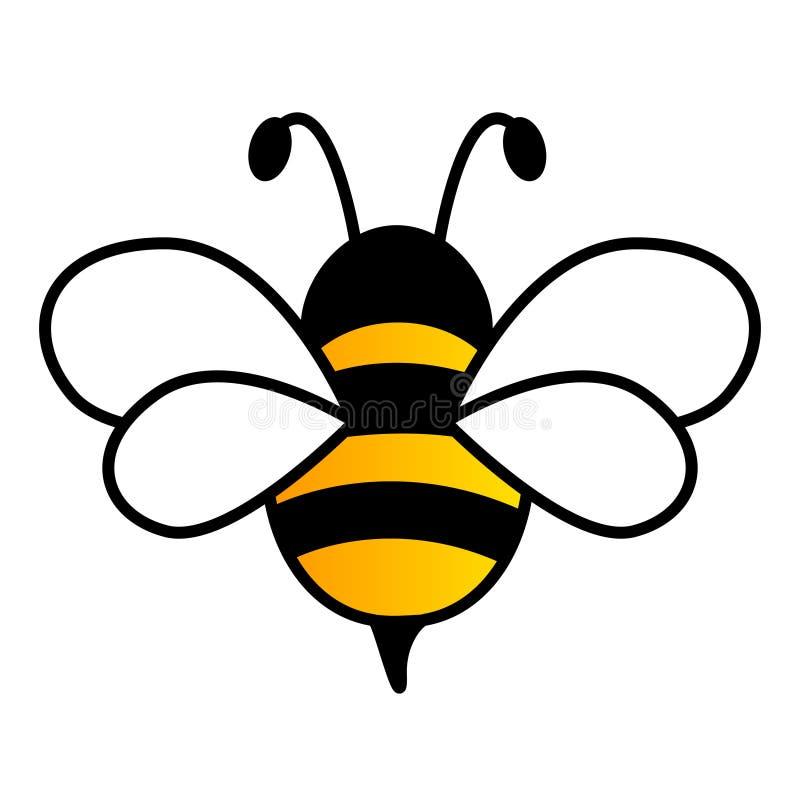 Симпатичный простой дизайн желтой и черной пчелы иллюстрация штока