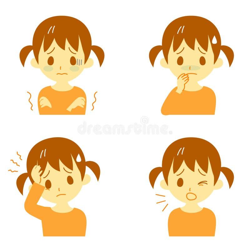 Симптомы 01 заболеванием, девушка иллюстрация вектора