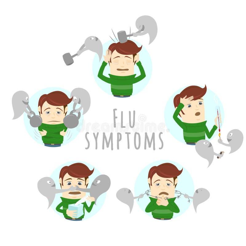 Симптомы простуды гриппа инфлуензы Человек страдает холод, лихорадку иллюстрация вектора