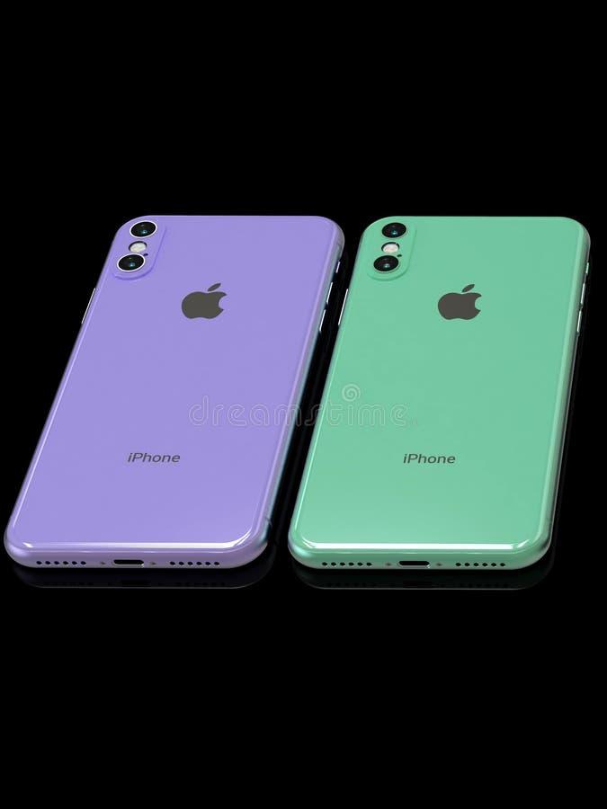 Симуляция дизайна наследника 2019 iPhone XR Яблока протекаемая стоковое фото