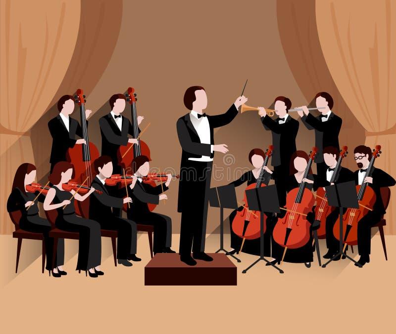 Симфоничный оркестр плоский иллюстрация вектора