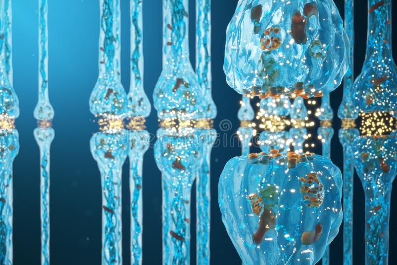 Синаптическая передача, приемные устройства нервной системы Сознавание концепции Синапсы мозга Синапс передачи, импульсы иллюстрация штока