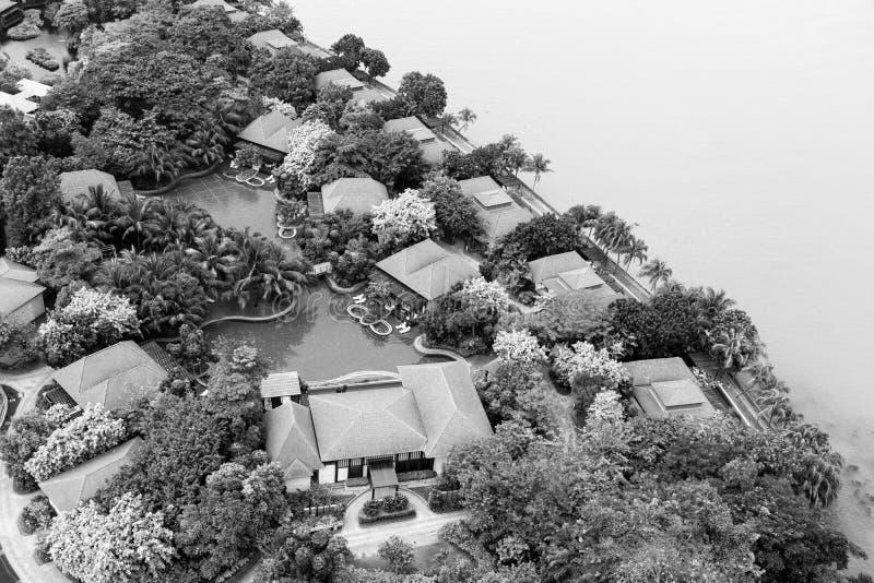 СИНГАПУР, 10-ОЕ ДЕКАБРЯ 2017: Курорт бунгала острова Sentosa стоковые изображения