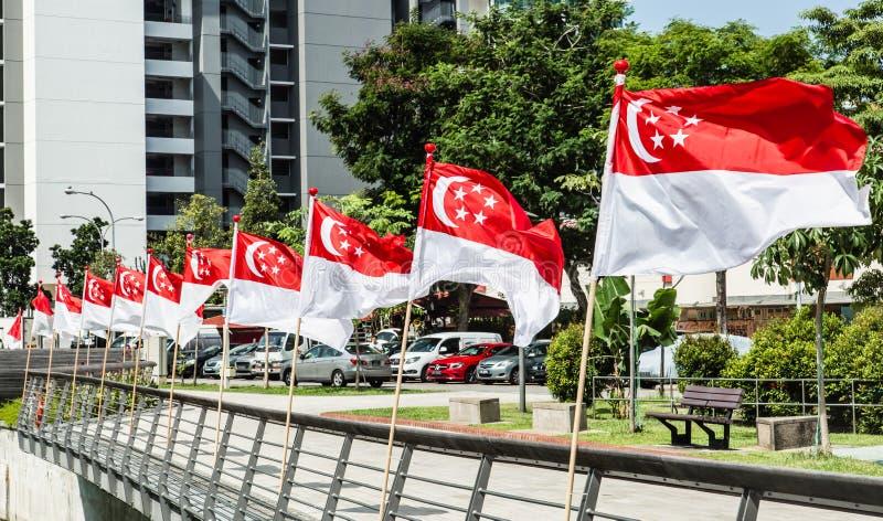 Сингапур 22-ОЕ ИЮЛЯ 2017: Флаги Сингапура реки Сингапура Rochor на национальный праздник торжества стоковое фото