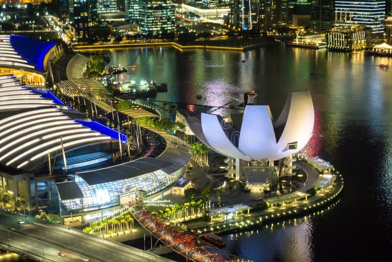 Сингапур - 11-ое октября 2018: Взгляд городского пейзажа от летчика Сингапура стоковое фото