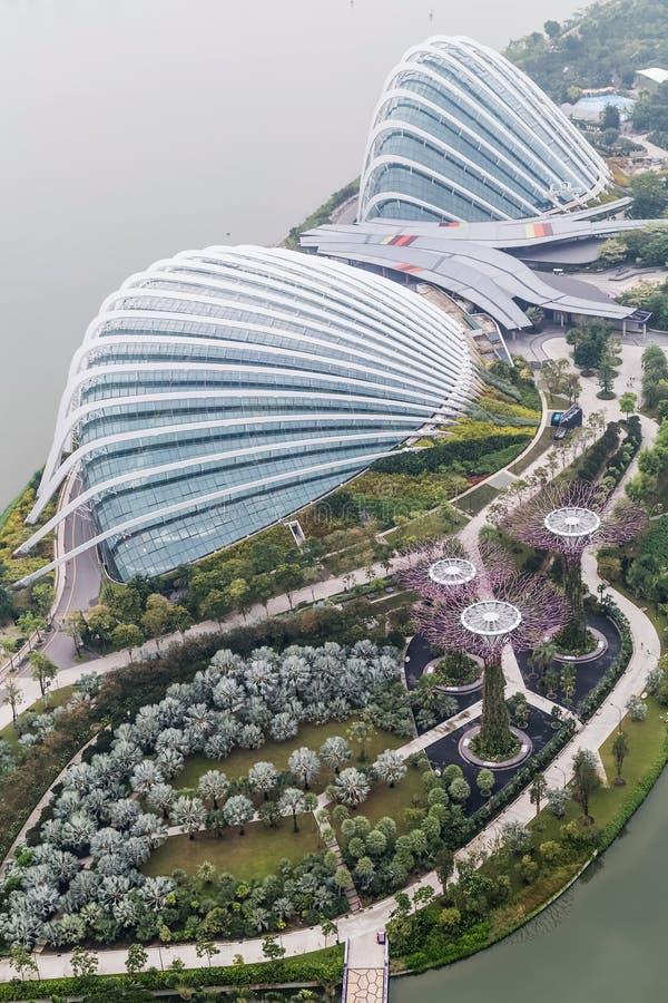 Сингапур, Сингапур - около сентябрь 2015: Купол цветка, лес облака и роща Supertree, сады заливом стоковые фото