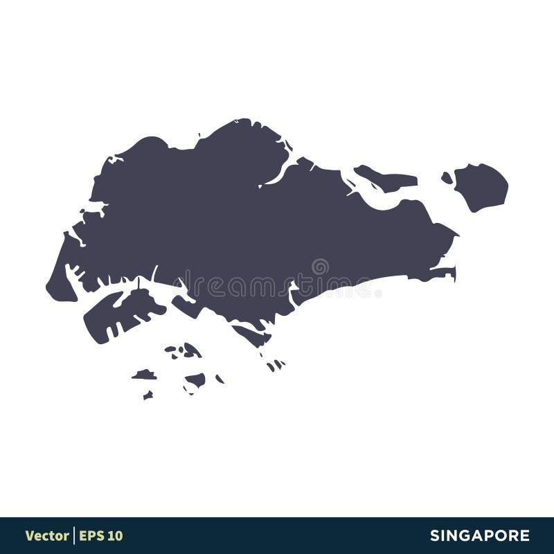 Сингапур - страны Азии составляют карту дизайн иллюстрации шаблона логотипа вектора значка r иллюстрация штока